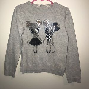 H&M Girl's Sequined Mice Sweater